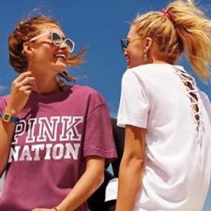 VS Pink Pink Nation Strappy Back Campus Tee